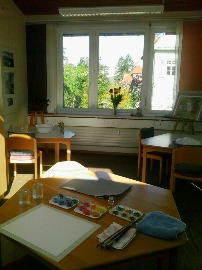 Výtvarný ateliér pro arteterapii na Klinice Arlesheim